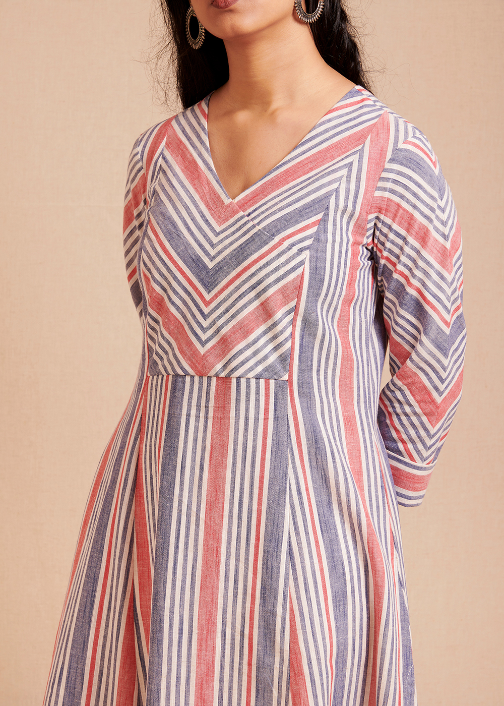 CONNECT - Blue and Red Striped Kurta/Dress