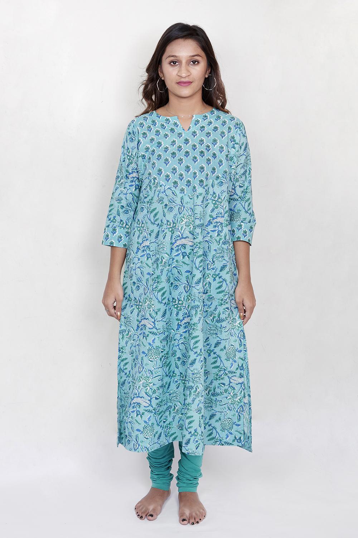 Blue printed kurta with yoke detail