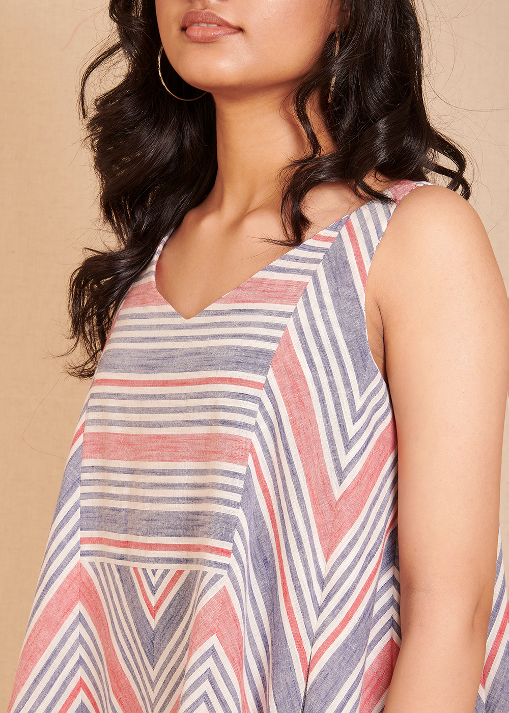 CONNECT - Blue and Red Striped Sleeveless dress
