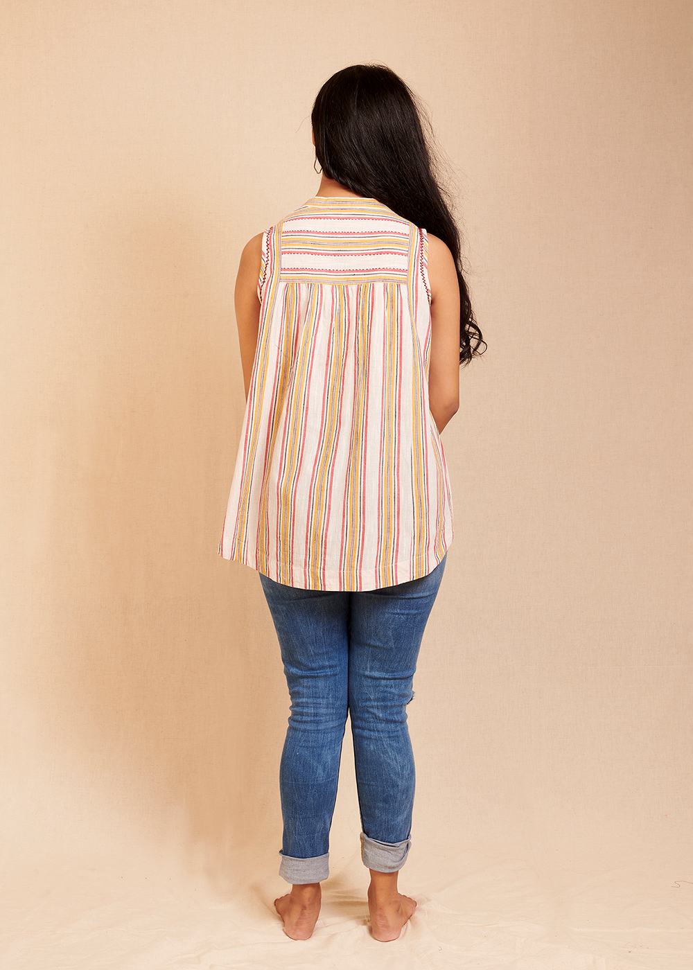 CONNECT - Red and yellow Striped Sleeveless top