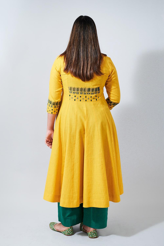IKAT TUNES - Yellow flared kurta with embroidery
