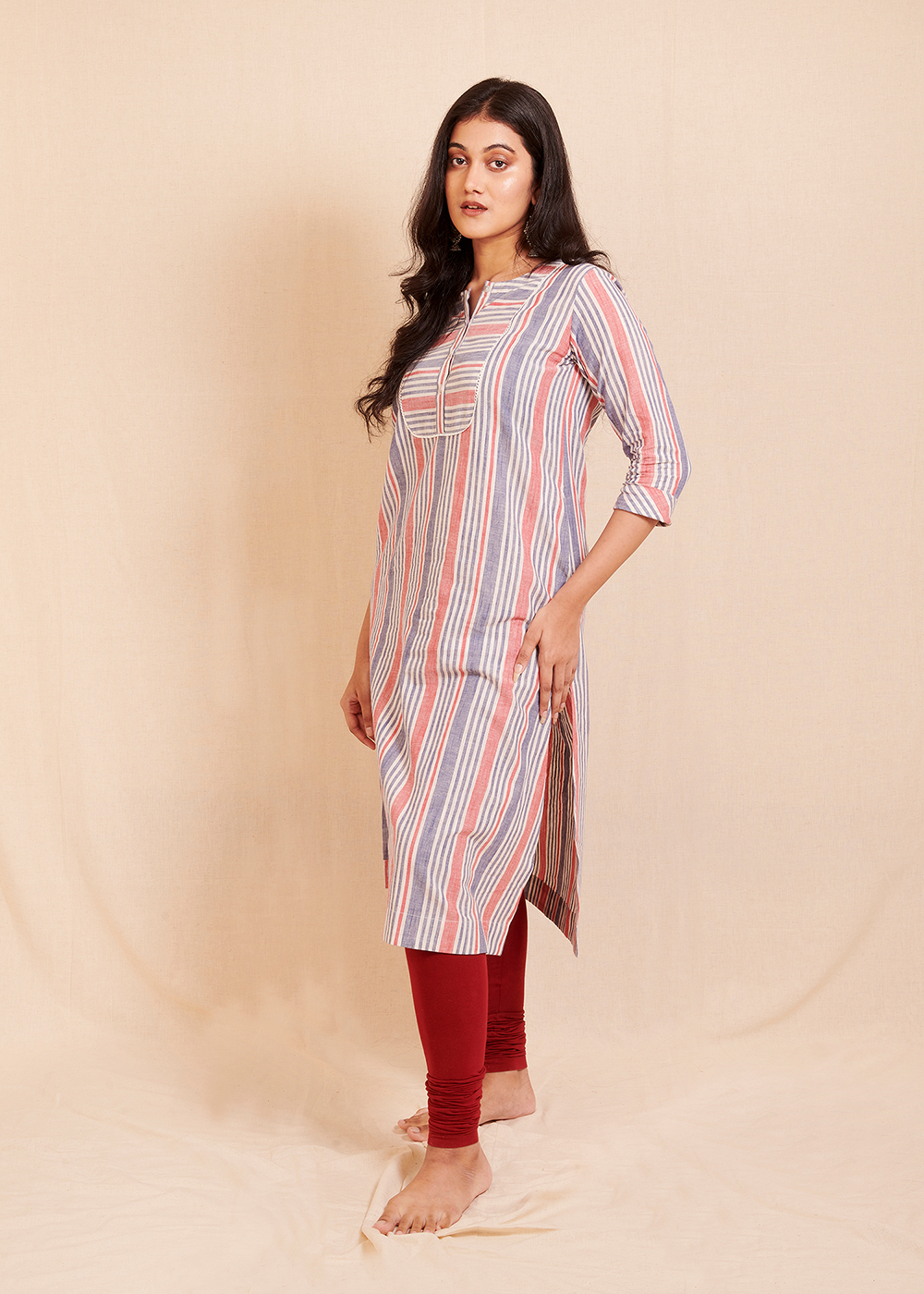 CONNECT - Blue and Red Striped kurta with front placket