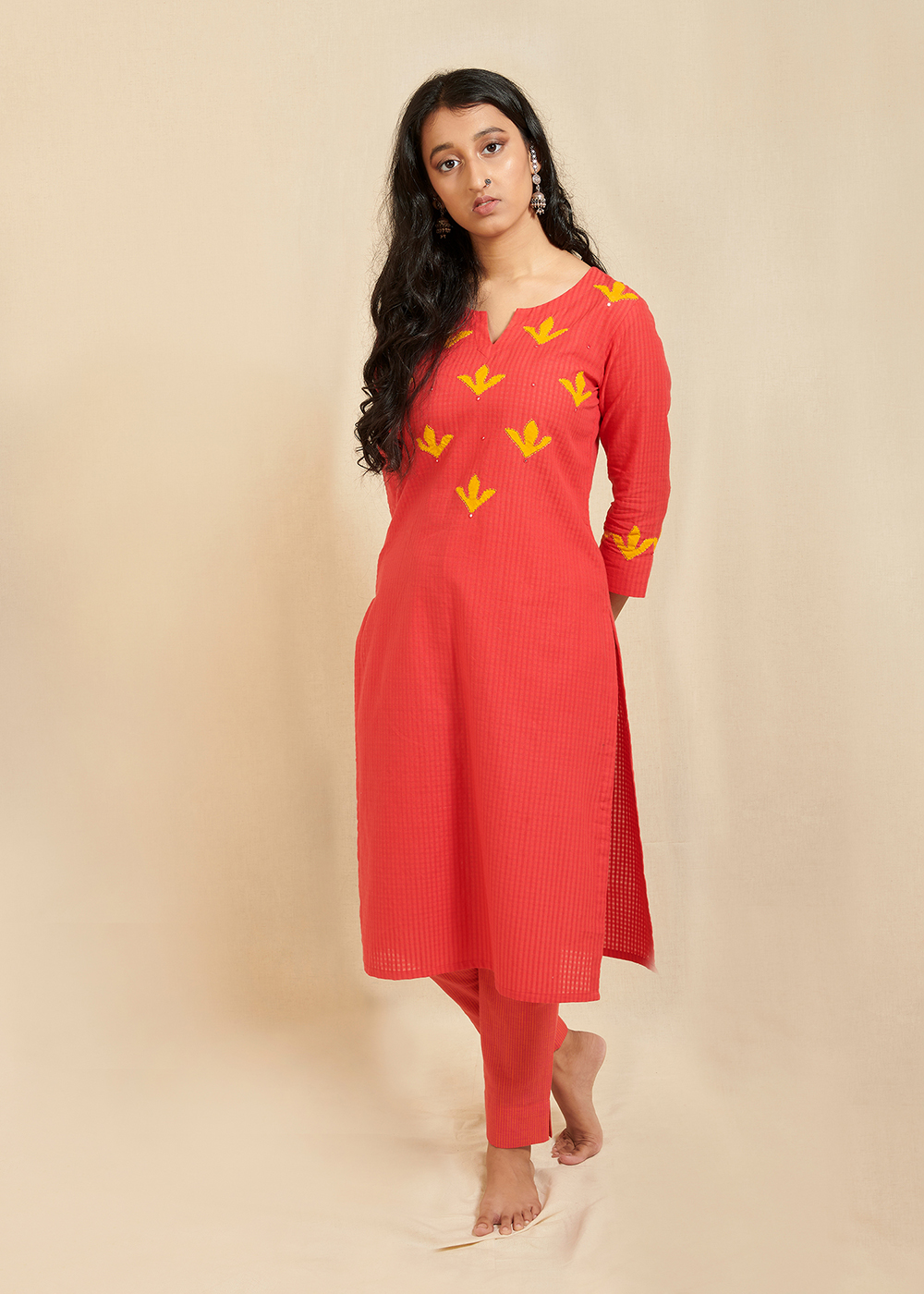 Red staright kurta with hand applique work