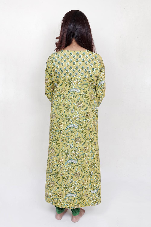 Green printed kurta with yoke detail