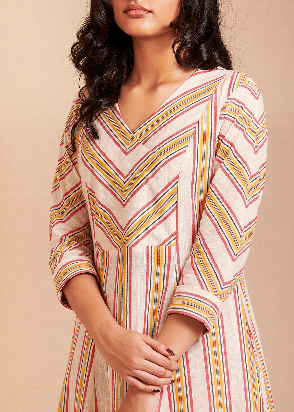 CONNECT - Red and yellow Striped Kurta/Dress