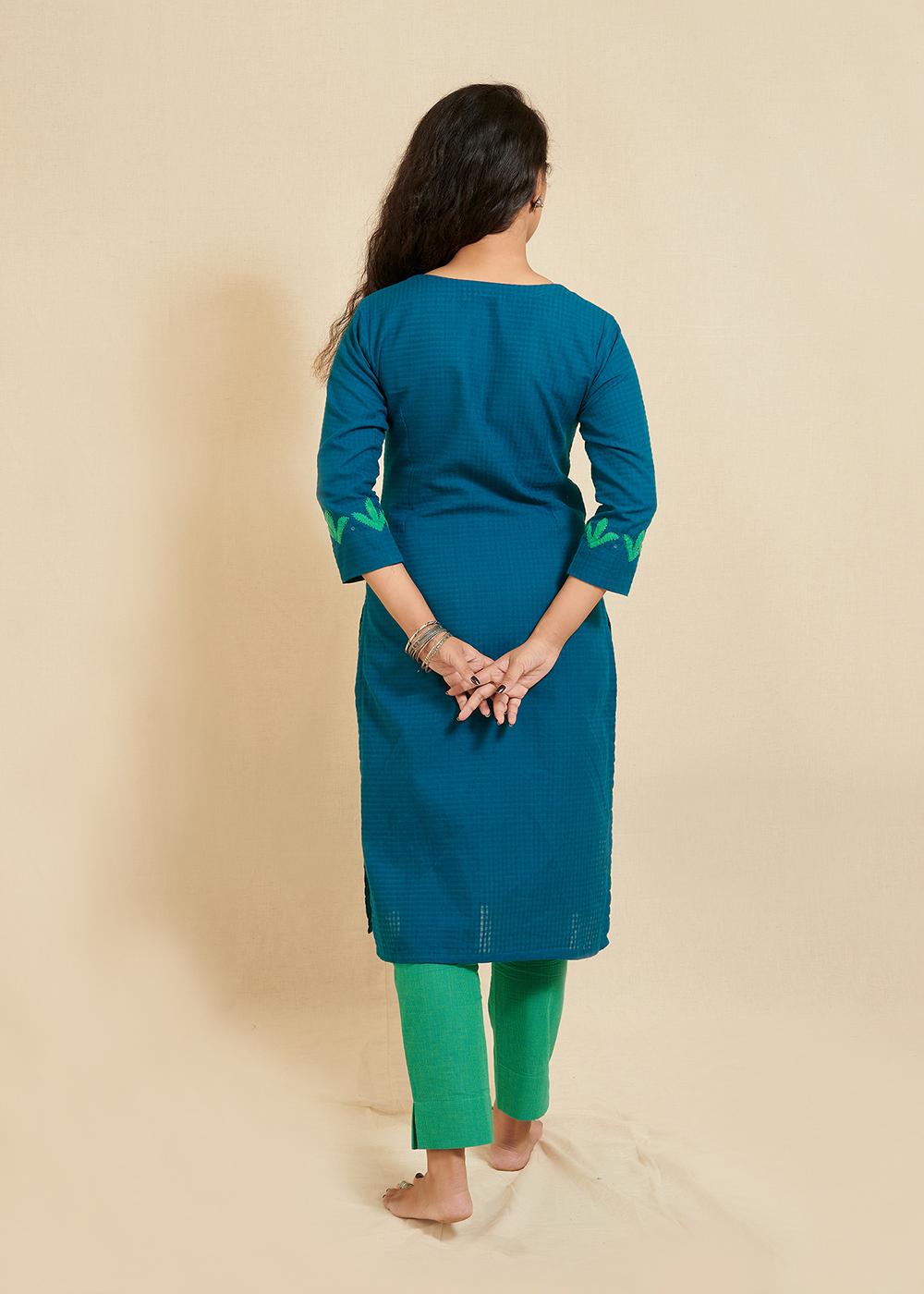 Blue straight kurta with hand applique work
