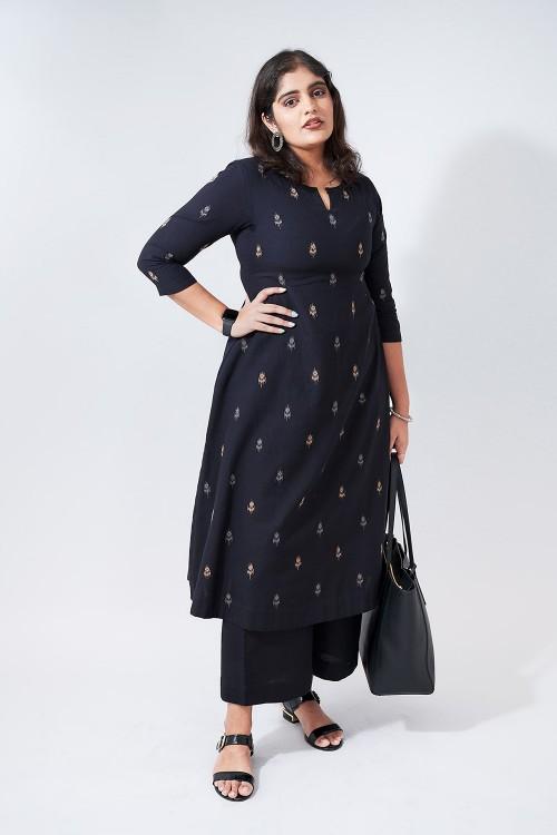 ikat tunes - black a-line embroidered kurta