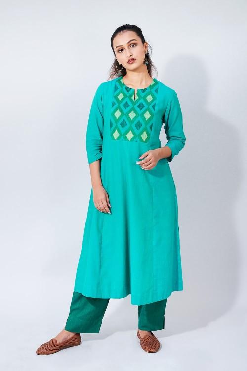 ikat tunes - green gathered kurta with embroidery