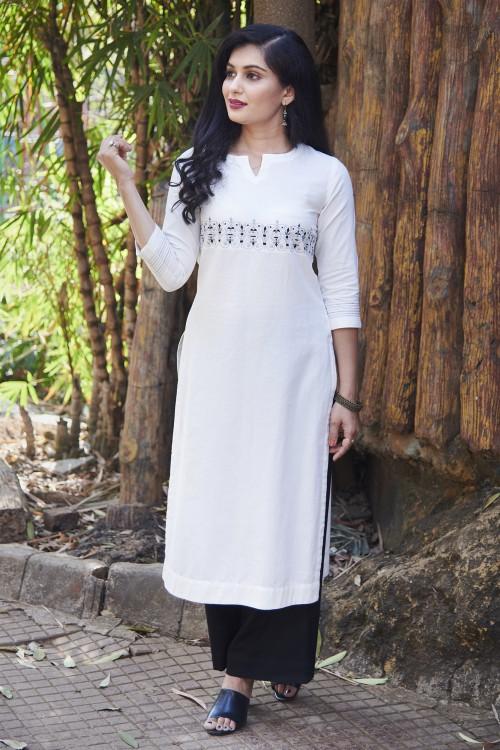 royal grid - white round neck embroidered kurta