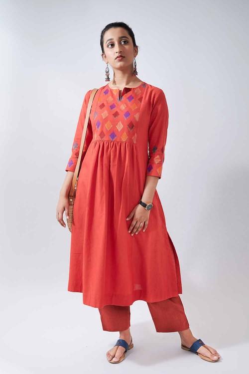 ikat tunes - red embroidered kurta