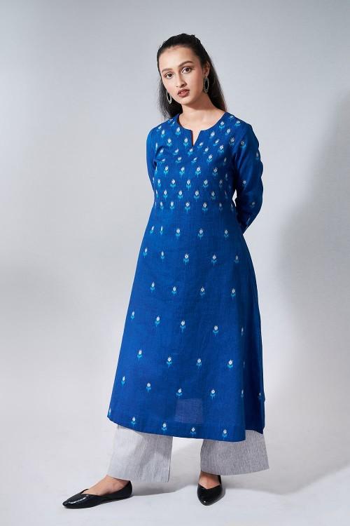 ikat tunes - blue a-line embroidered kurta