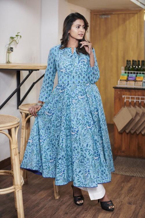 blue angrakha style kurta with embroidered yoke